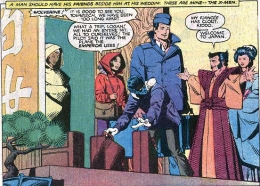 Wolverine en kimono accueillant ses amis au Japon pour son mariage dans Uncanny X-men #172