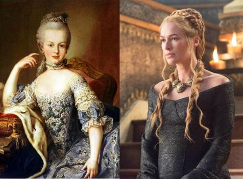 A gauche, un portrait de Marie-Antoinette, à droite, le personnage de Cersei Lannister dans Game of Thrones