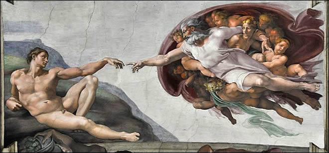 La création d'Adam par Michel-Ange, l'une des fresques de la Chapelle Sixtine.