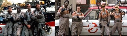 Les deux équipes de chasseurs de fantômes des films Ghostbusters