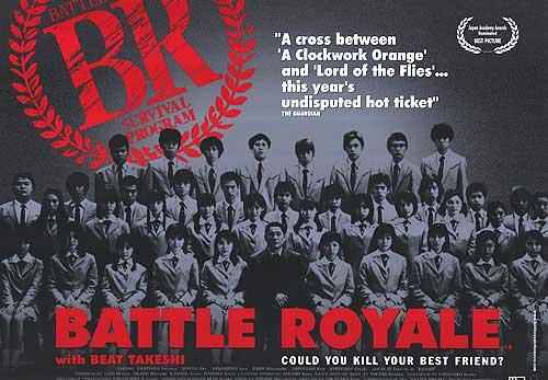 Une affiche promotionnelle de Battle Royale le comparant à Orange Mécaniques de Stanley Kubrick