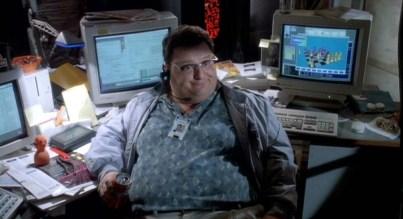 Dennis Nedry, l'informaticien chargé de la sécurité dans le premier film Jurassic Park