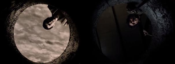 Deux plans issus du film montrant le père de Sadako et l'ex-mari de l'héroïne dans la même position, penchés au-dessus du puits