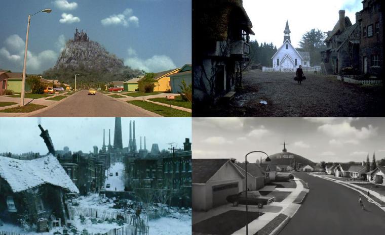 4 images comparatives des différents plans de rue dans les films de Tim Burton