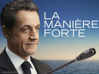 Une parodie d'affiche de campagne de Nicolas Sarkozy présenté avec un karcher
