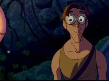 Milo, héros de l'Atlantide de Disney, visiblement très heureux.