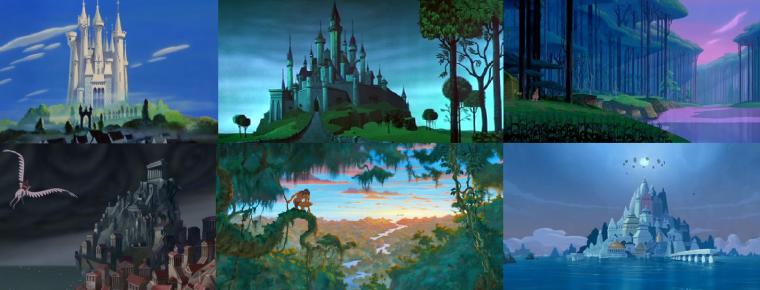 Différents décors des films Cendrillon, La Belle au Bois Dormant, Pocahontas, Hercules, Tarzan et l'Atlantide. Tous avec un style assez différent.