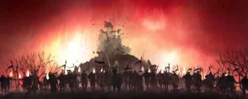 Le prince de la première histoire levant une armée pour tuer la méchante reine.