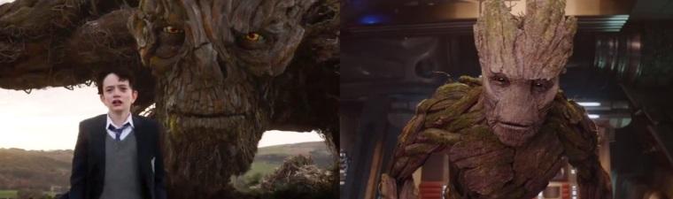 Conor et le monstre à gauche, Groot des Gardiens de la Galaxie à droite