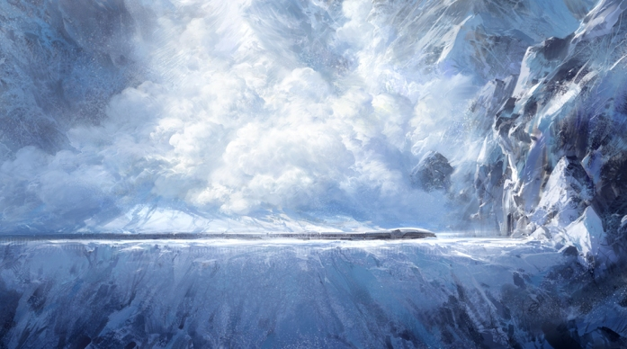 Le Transperceneige filant à toutes vitesses dans la montagne, sur le point d'être renversé par une avalanche.