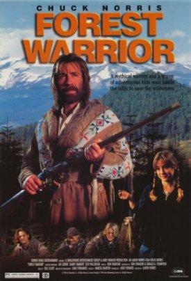 L'affiche américaine de Forest Warrior, un film direct to vhs sorti dans les années 90 où Chuck Norris joue un esprit vengeur de la nature bien décidé à protéger la forêt des méchants bucherons.