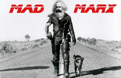 Karl Marx incrusté à la place de Mel Gibson dans un film Mad Max. Détournement trouvé sur https://pogoprinciple.wordpress.com/2010/10/05/mad-marx-coming-to-a-political-theatre-near-you/