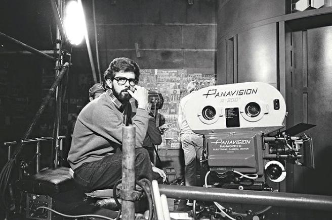 George Lucas sur le tournage de Star Wars IV