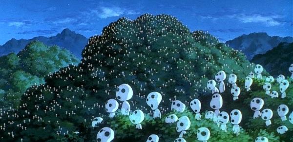 Les esprits de la forêt dansant au sommet des arbres dans Princesse Mononoké