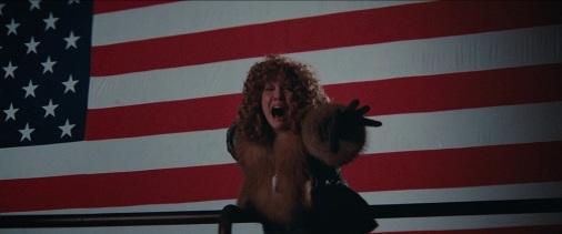 Nancy Allen appelant à l'aide devant un drapeau américain géant.
