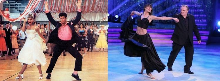 A gauche, John Travolta dansant dans Grease, à droite, Gérard Depardieu dans Danse avec les Stars