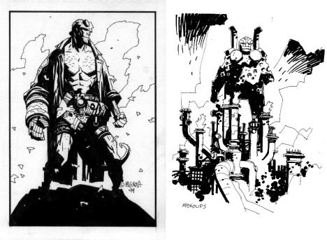 Comparaison de Hellboy et d'un concept art pour Atlantide par Mike Mignola