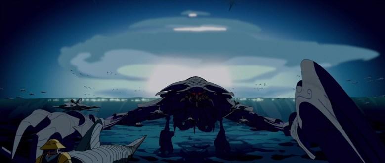 Vaisseau atlante et explosion (ressemblant à un champignon nucléaire en fond)