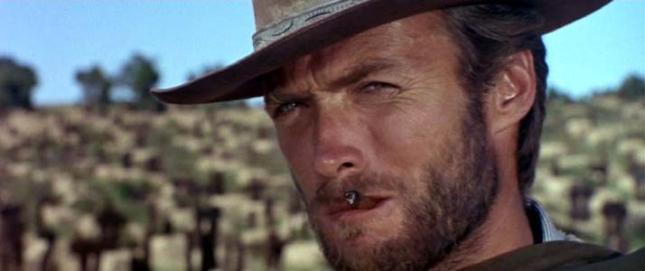 """Clint Eastwood plissant les yeux dans """"Le Bon, la Brute et le Truand"""""""