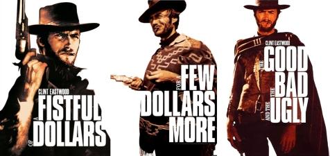 """Les posters de """"Pour une poignée de dollars"""", """"Et pour quelques dollars de plus"""" et """"Le Bon, la Brute et le Truand"""", aussi appelés """"La Trilogie du Dollar"""" de Sergio Leone"""